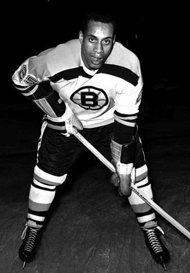 Willie O'Ree was pictured in a Boston Bruins uniform in this 1960 file photo.